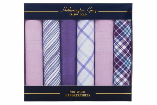 Mixed Purple and Pink  Checked and Plain Dyed Handkerchiefs